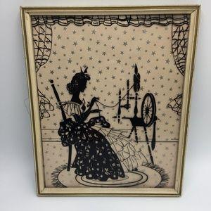 Vintage Spinning Wheel Glass Framed Wall Art